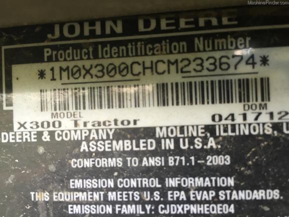 Photo of 2012 John Deere X300