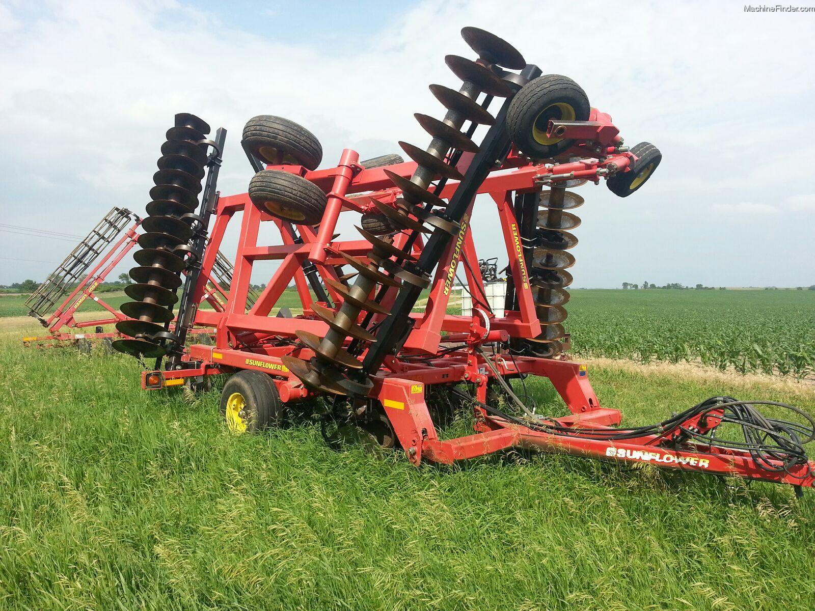 Rolling Basket Harrow : Sunflower and rolling basket harrow tillage